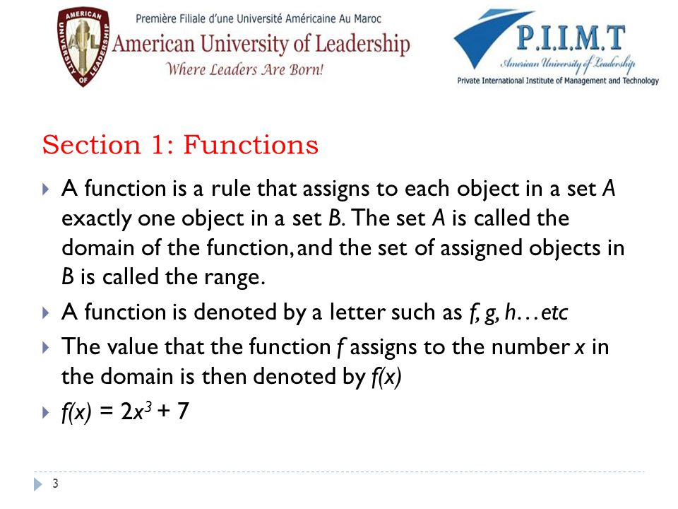 Section 1: Functions
