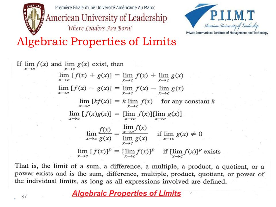 Algebraic Properties of Limits