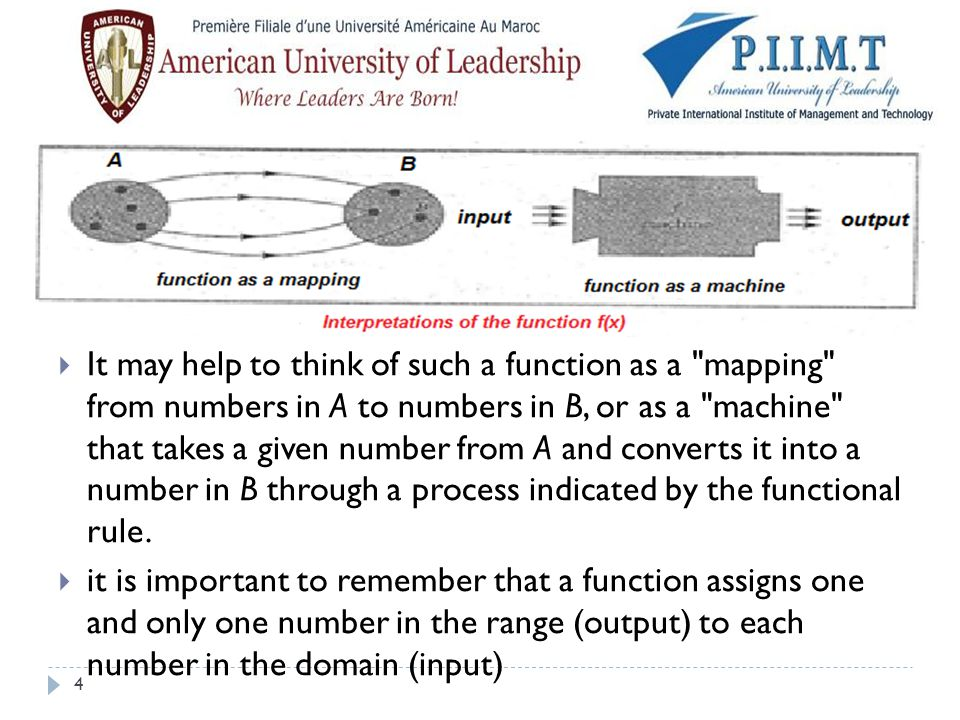 It may help to think of such a function as a mapping from numbers in A to numbers in B, or as a machine that takes a given number from A and converts it into a number in B through a process indicated by the functional rule.