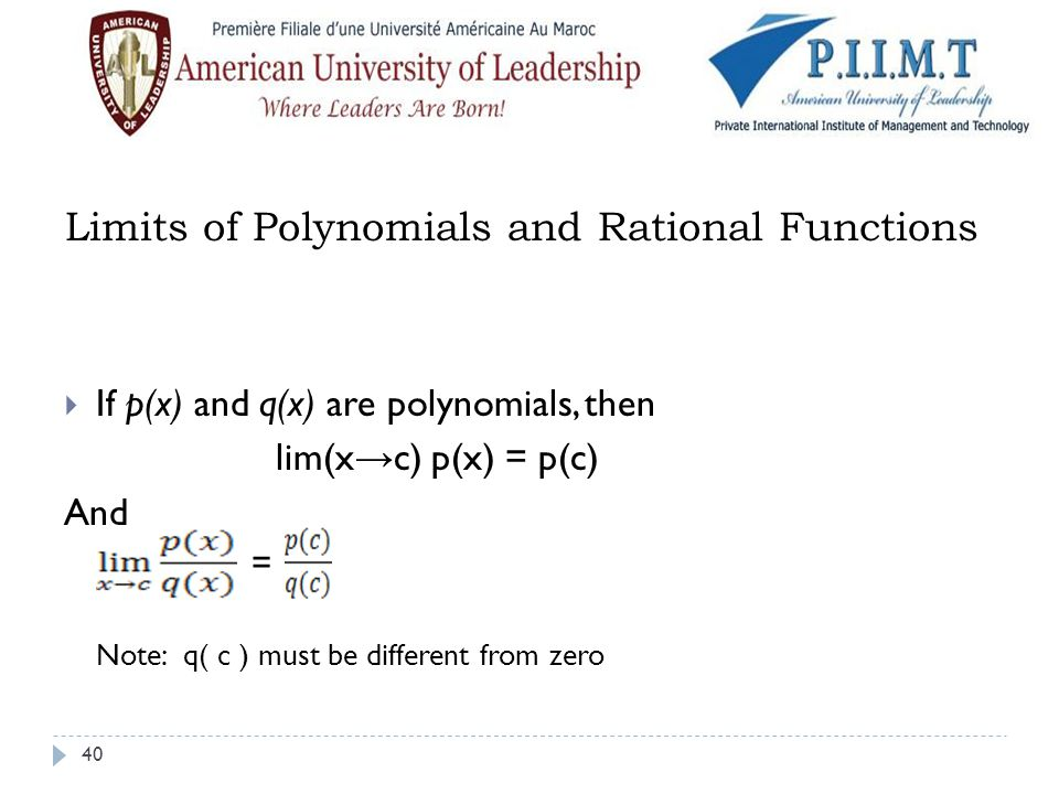 Limits of Polynomials and Rational Functions