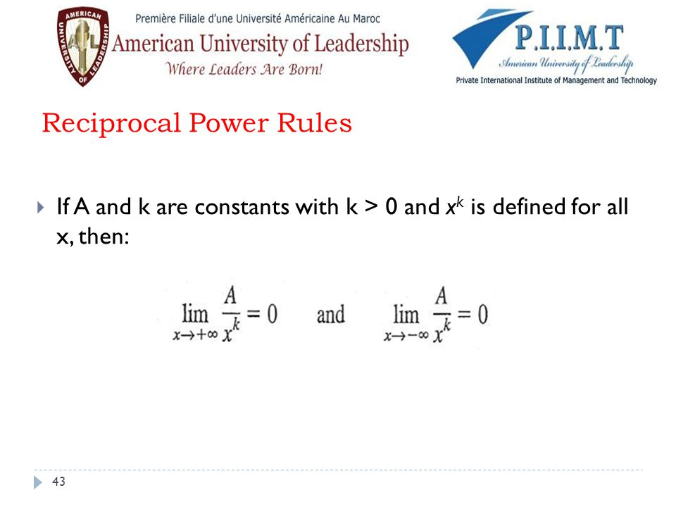 Reciprocal Power Rules