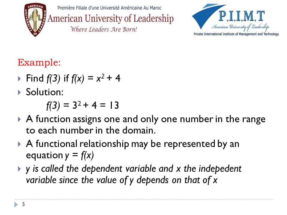 A functional relationship may be represented by an equation y = f(x)