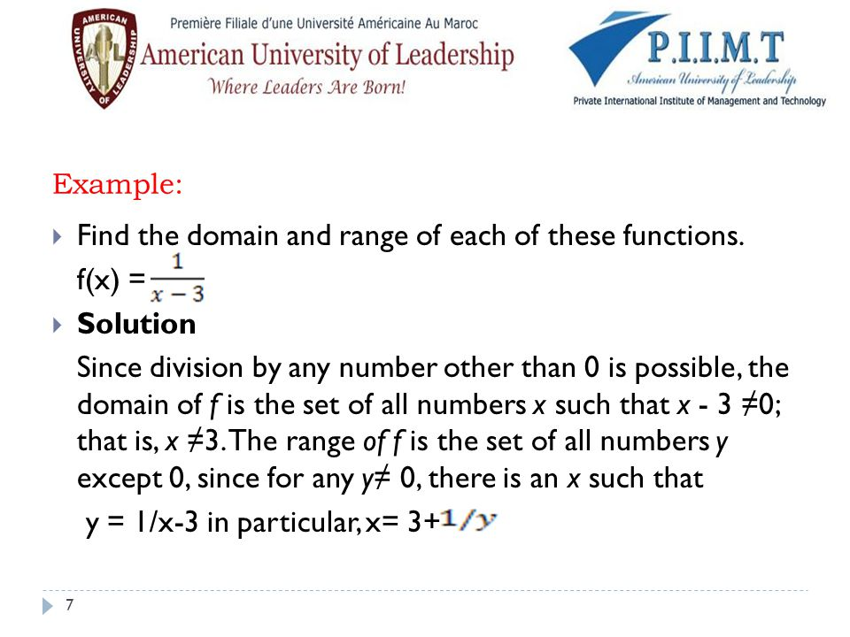 Find the domain and range of each of these functions. f(x) = Solution