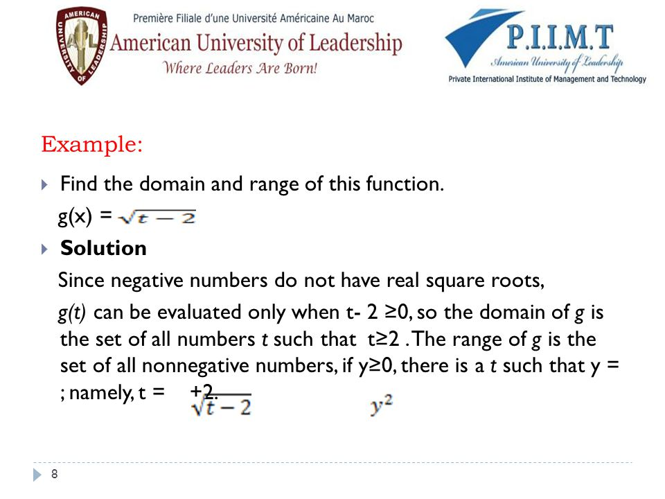 Example: Find the domain and range of this function. g(x) = Solution