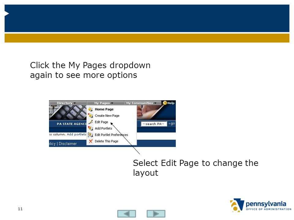 Click the My Pages dropdown again to see more options