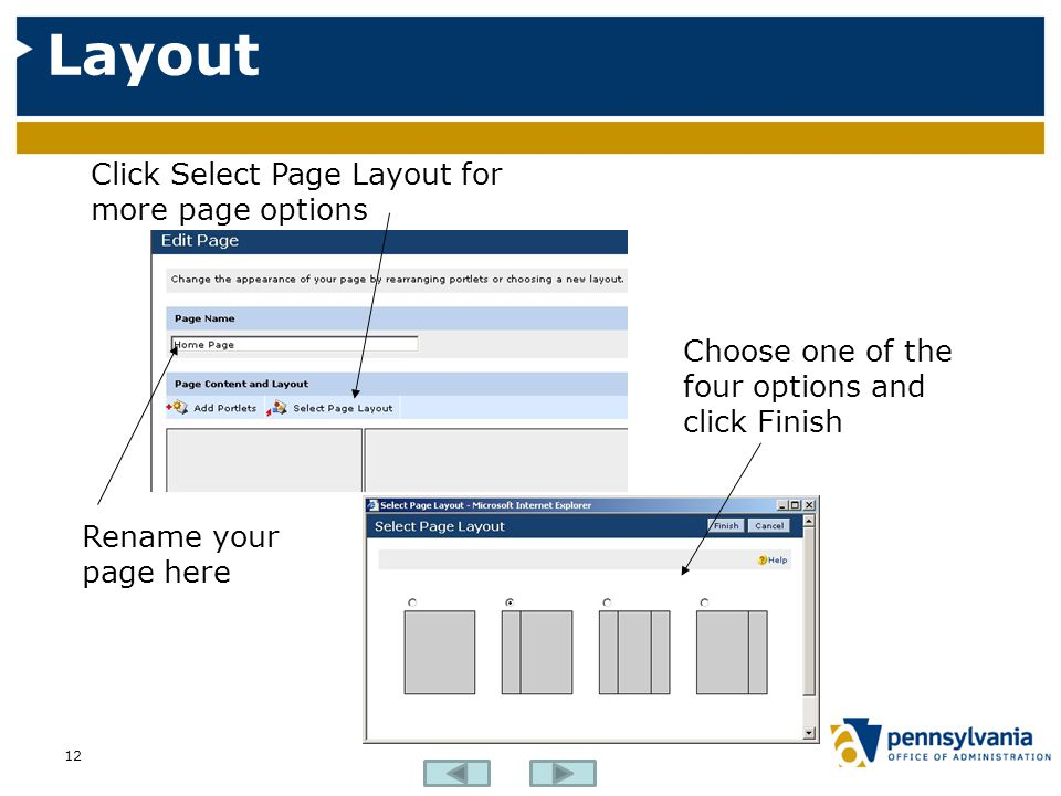 Layout Click Select Page Layout for more page options