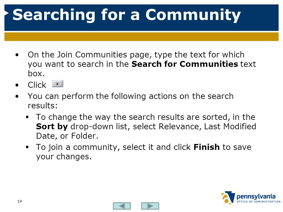 Searching for a Community