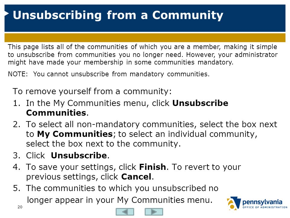 Unsubscribing from a Community
