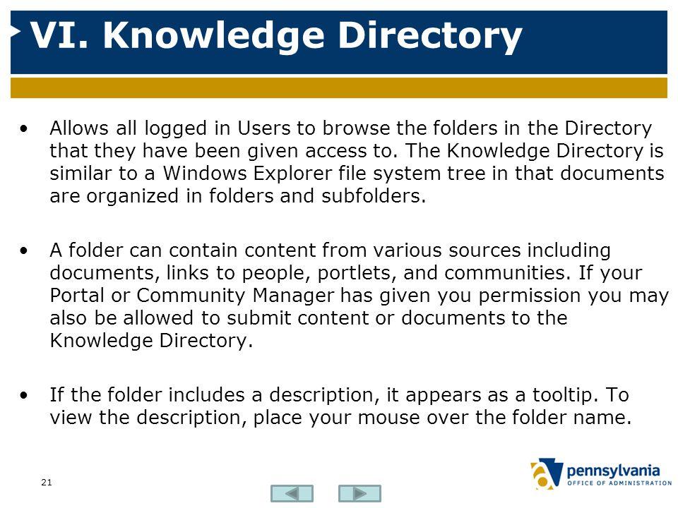 VI. Knowledge Directory