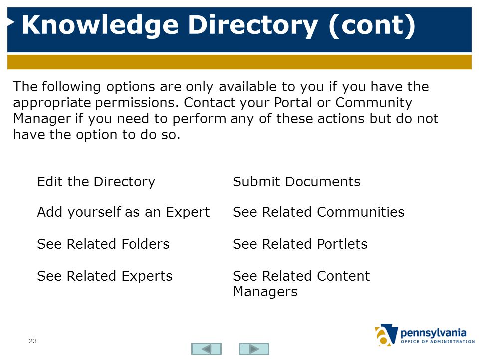 Knowledge Directory (cont)