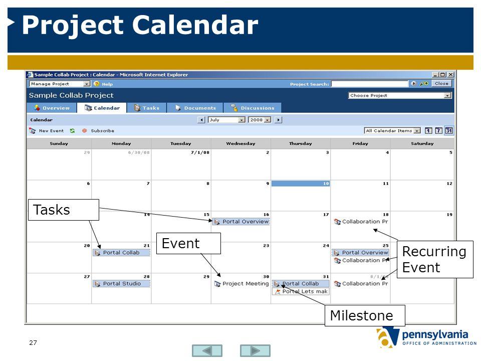 Project Calendar Tasks Event Recurring Event Milestone
