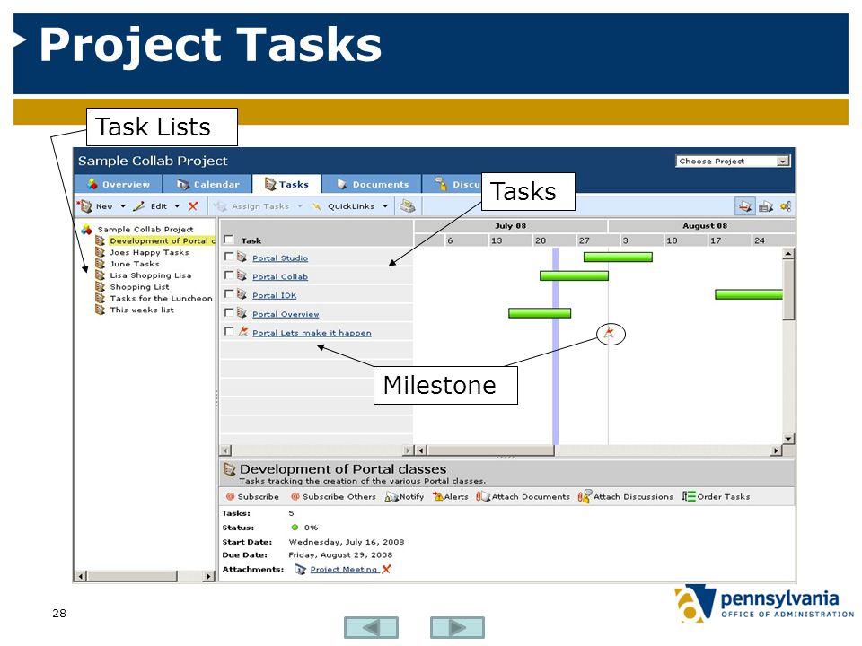 Project Tasks Task Lists Tasks Milestone