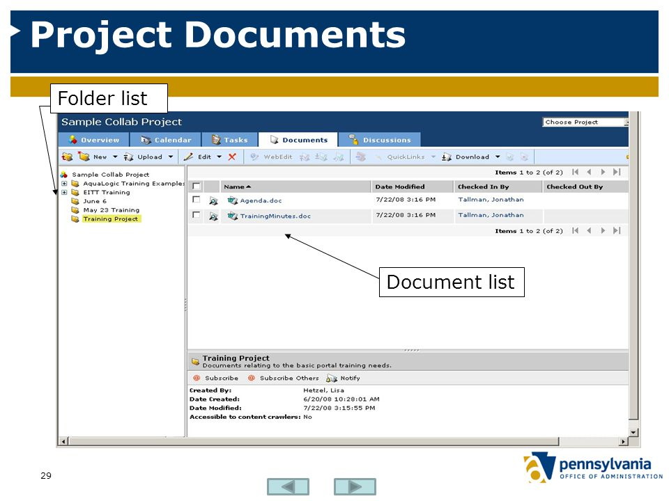 Project Documents Folder list Document list