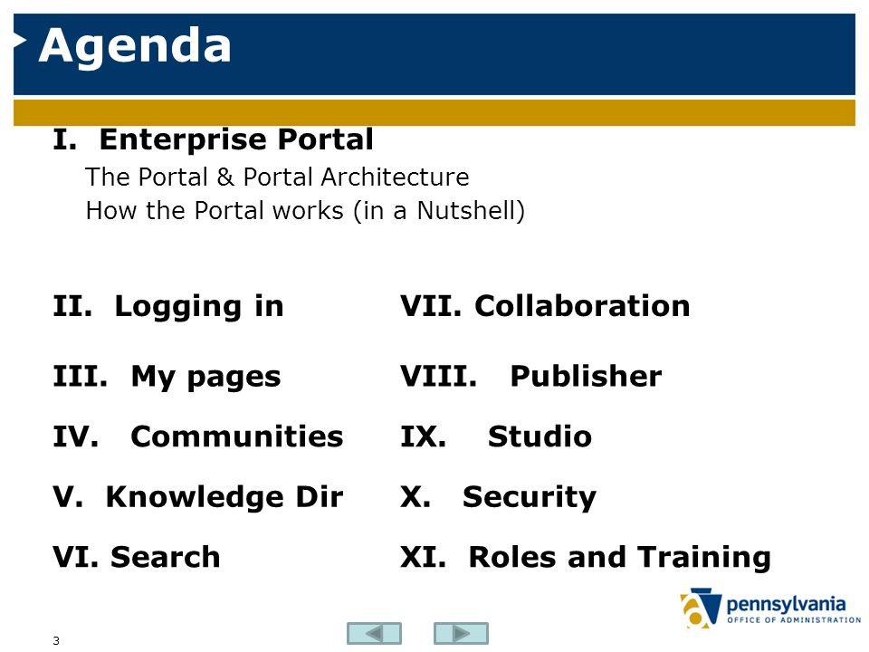 Agenda I. Enterprise Portal II. Logging in VII. Collaboration