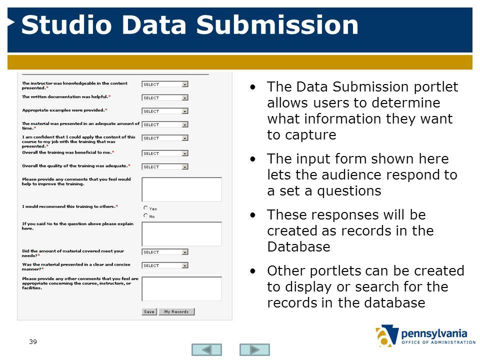 Studio Data Submission