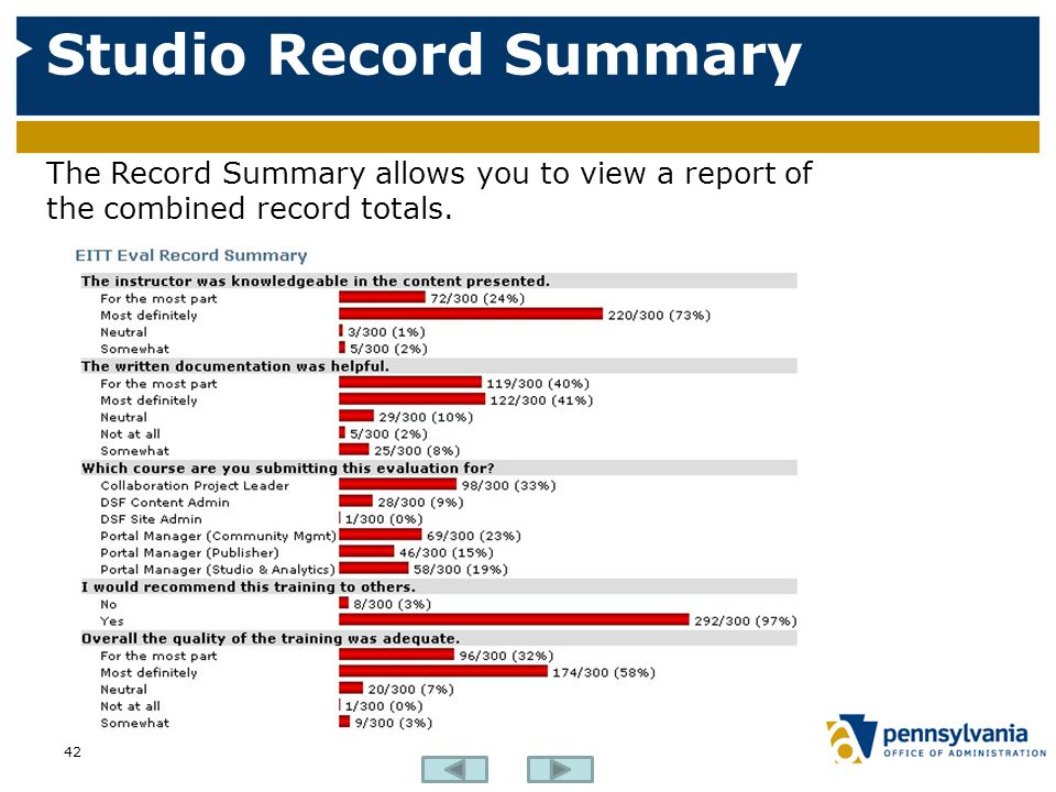 Studio Record Summary The Record Summary allows you to view a report of the combined record totals.