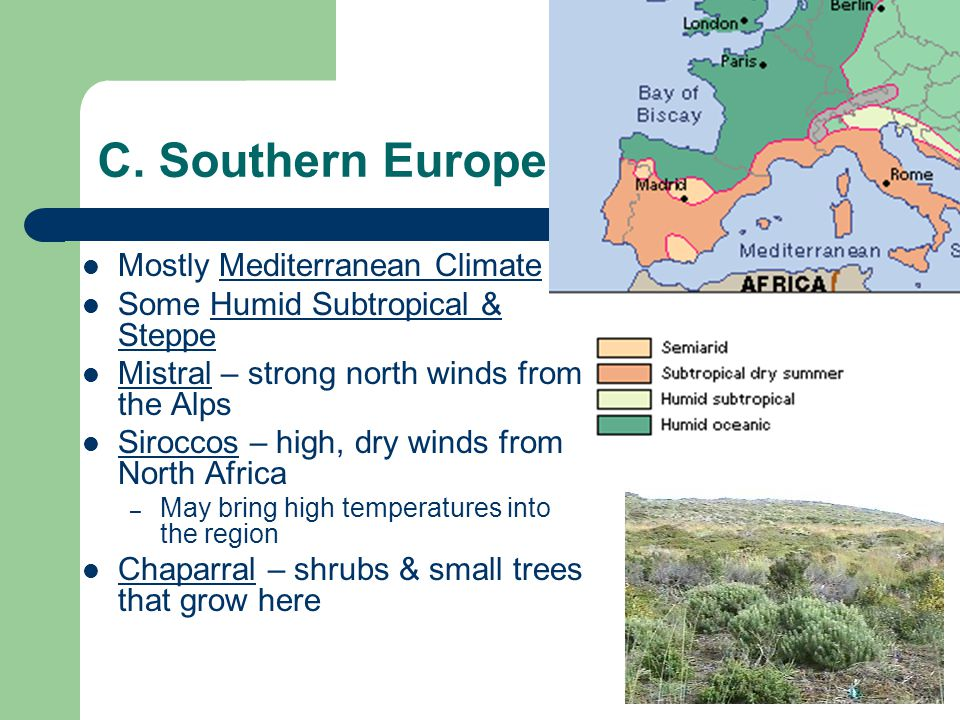 C. Southern Europe Mostly Mediterranean Climate