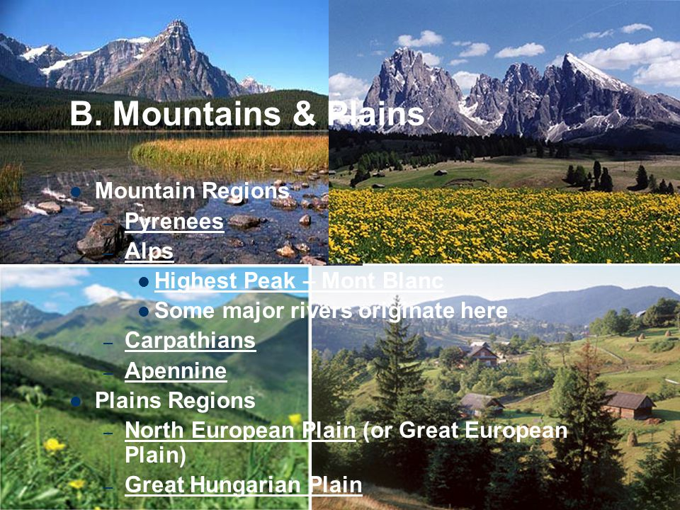 B. Mountains & Plains Mountain Regions Pyrenees Alps