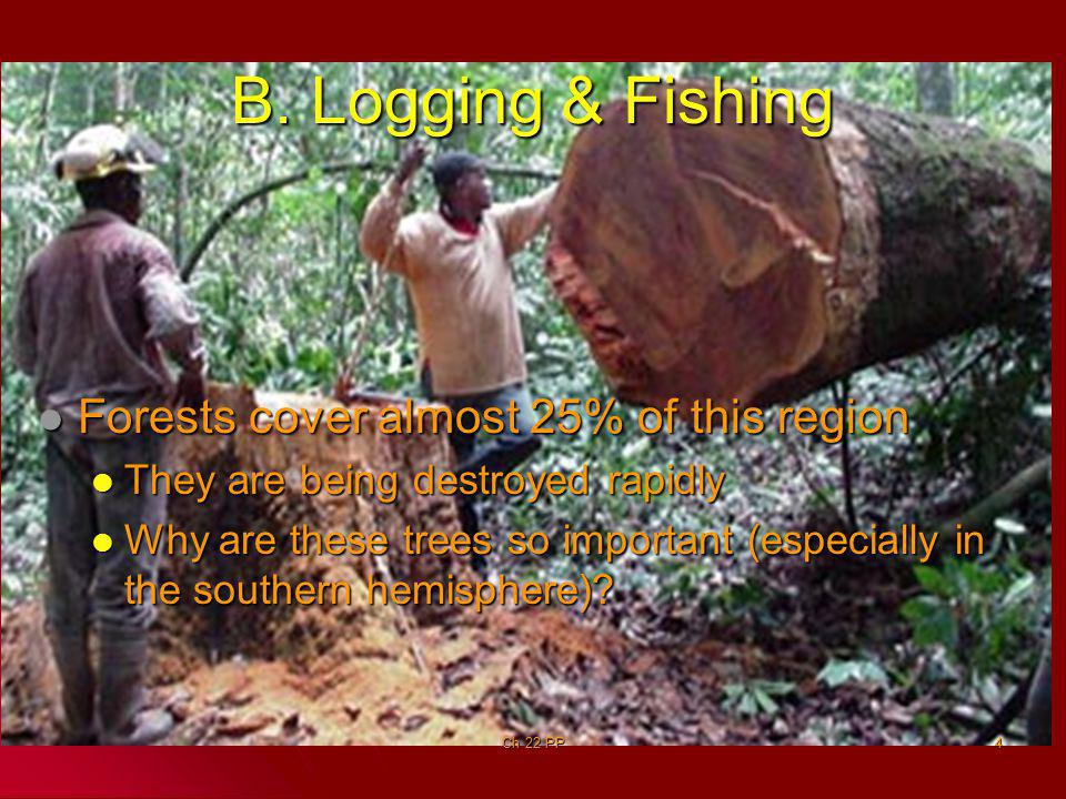 B. Logging & Fishing Forests cover almost 25% of this region