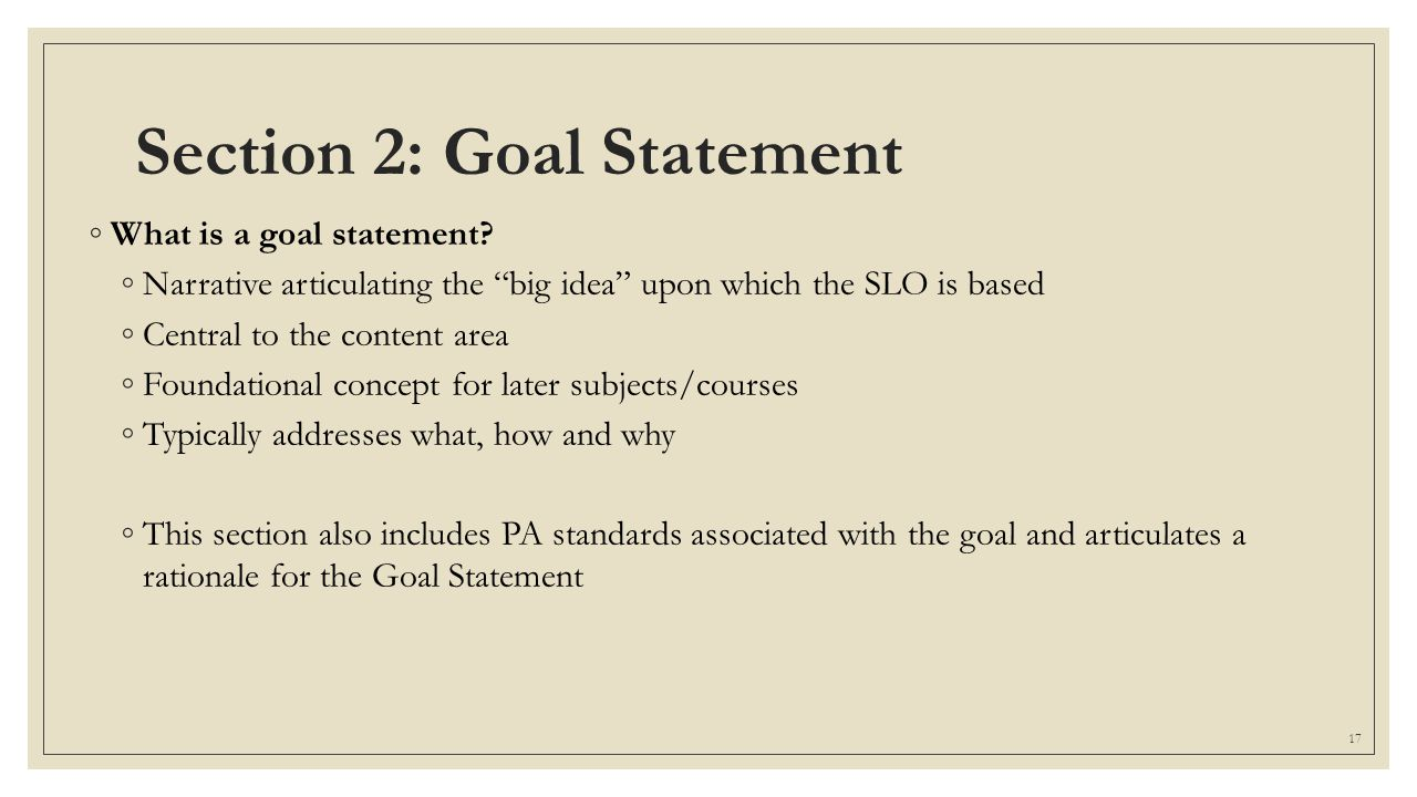 Section 2: Goal Statement