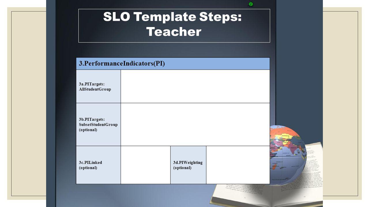 SLO Template Steps: Teacher 3.PerformanceIndicators(PI) 3a.PITargets: