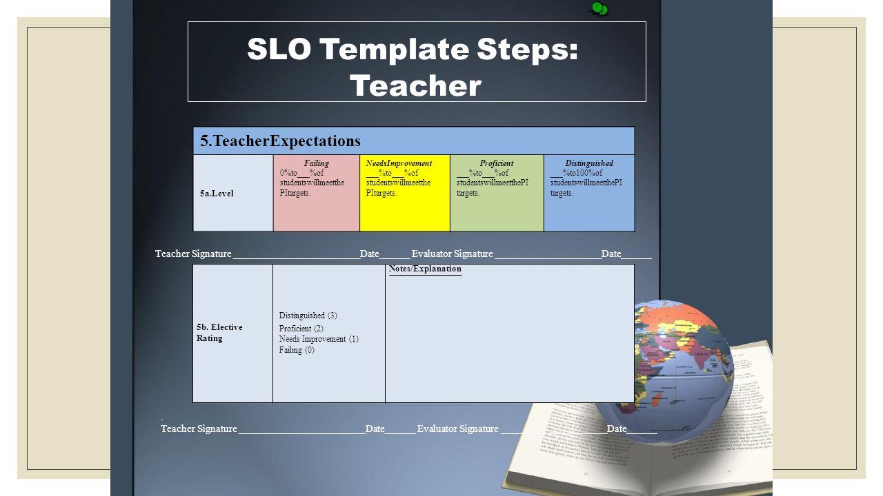 SLO Template Steps: Teacher 5.TeacherExpectations Notes/Explanation