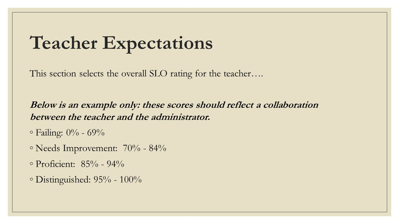 Teacher Expectations This section selects the overall SLO rating for the teacher….