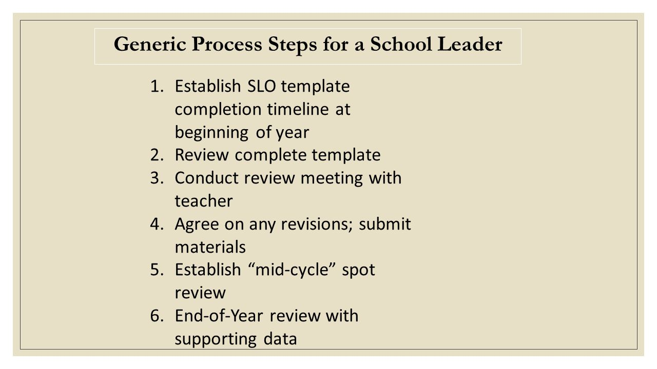 Generic Process Steps for a School Leader