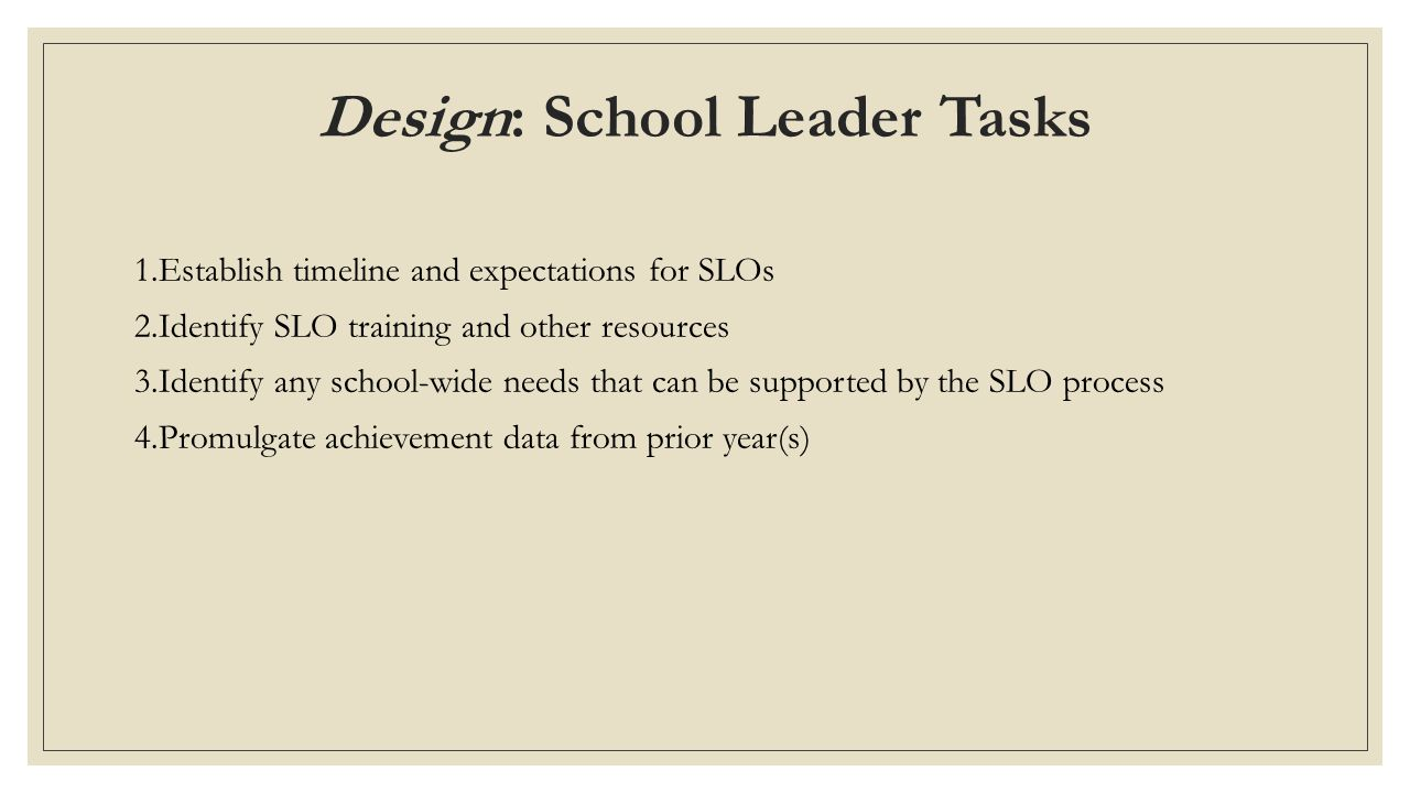 Design: School Leader Tasks