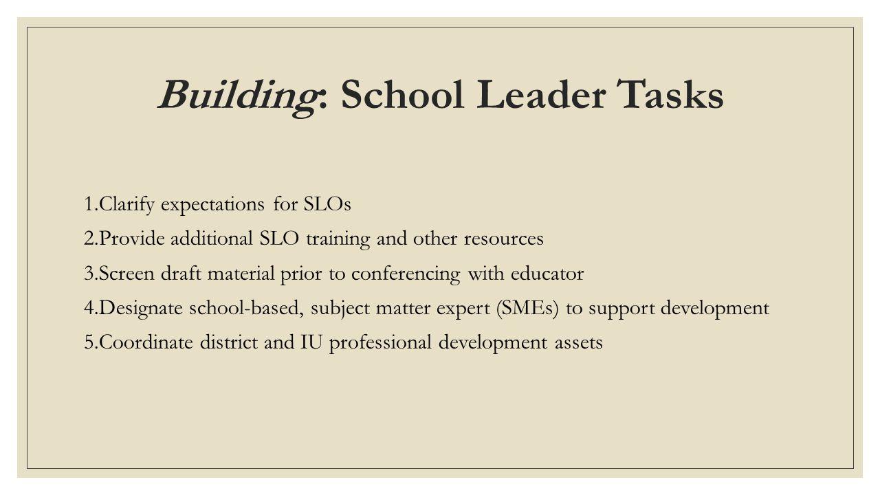 Building: School Leader Tasks