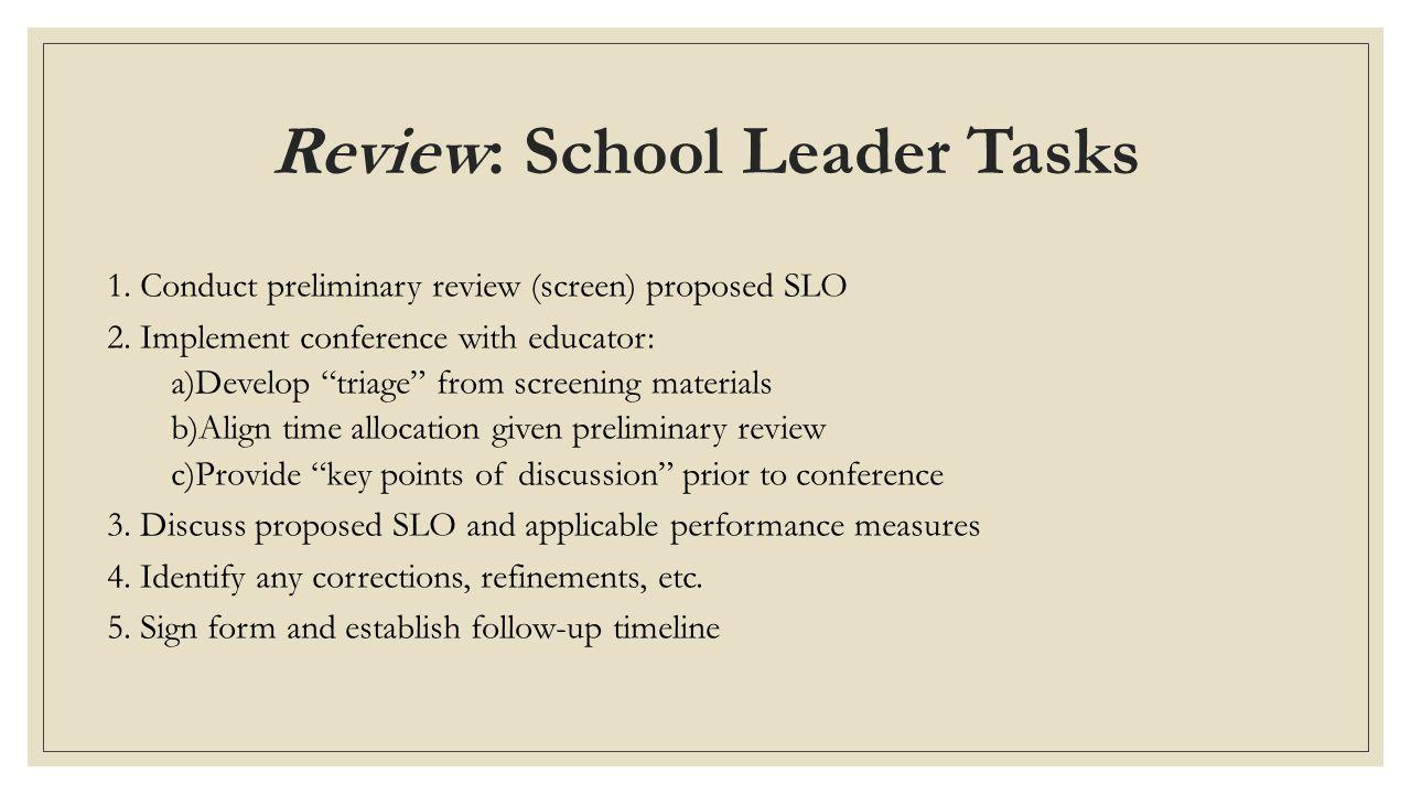Review: School Leader Tasks