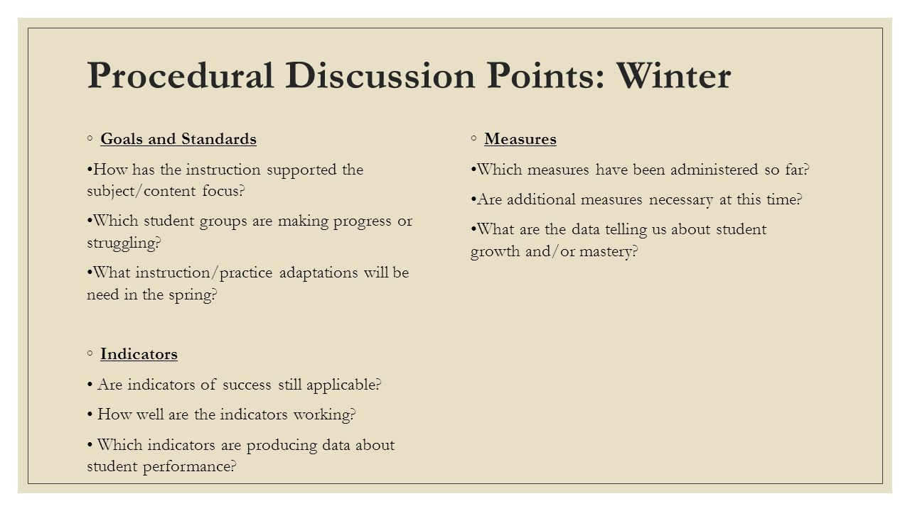 Procedural Discussion Points: Winter