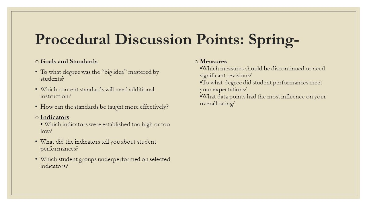 Procedural Discussion Points: Spring-