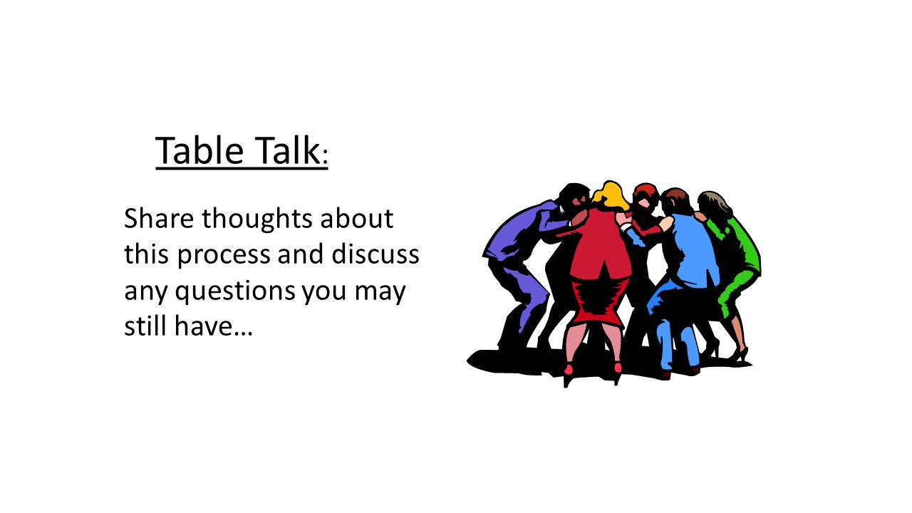 Table Talk: Share thoughts about this process and discuss