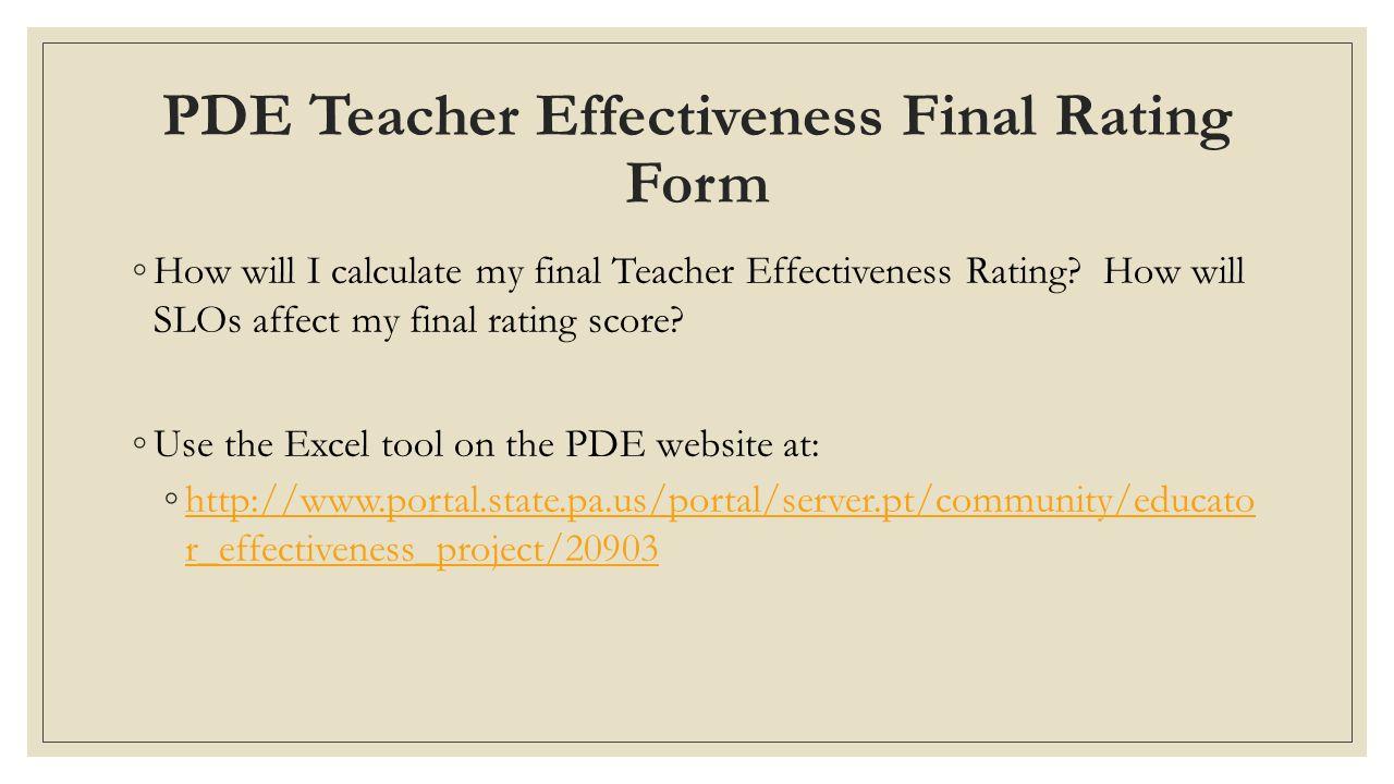PDE Teacher Effectiveness Final Rating Form