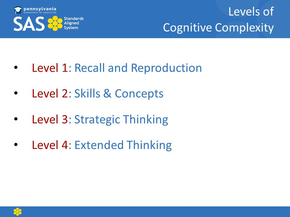 Levels of Cognitive Complexity Level 1: Recall and Reproduction