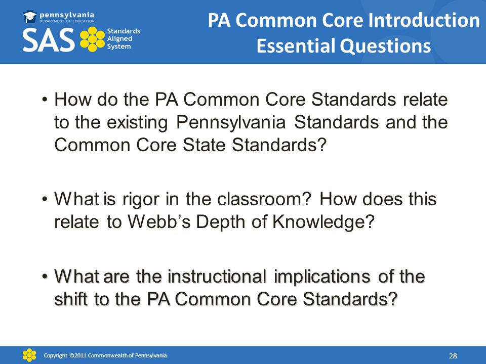 PA Common Core Introduction Essential Questions