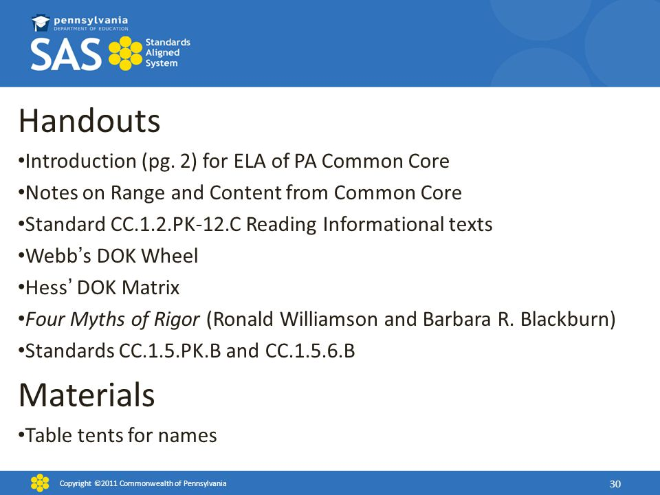 Handouts Materials Introduction (pg. 2) for ELA of PA Common Core
