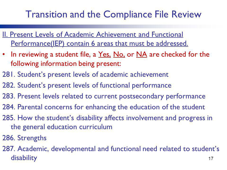 Transition and the Compliance File Review