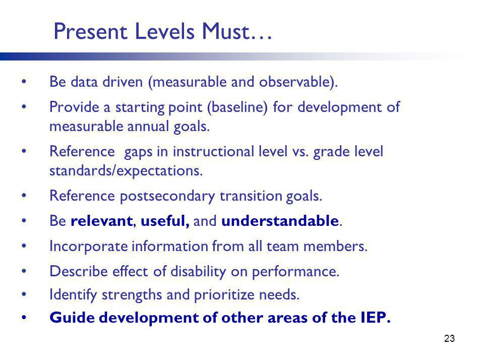 Present Levels Must… Be data driven (measurable and observable).