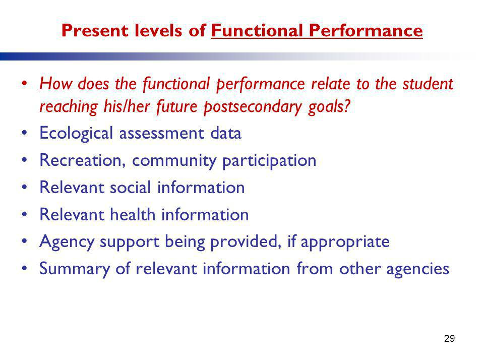 Present levels of Functional Performance