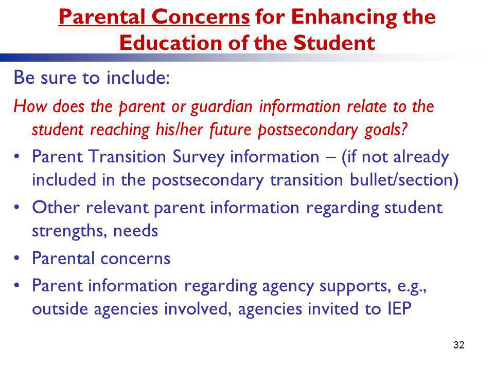 Parental Concerns for Enhancing the Education of the Student