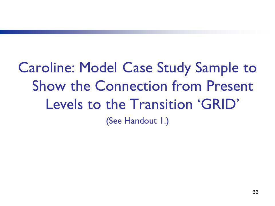 Caroline: Model Case Study Sample to Show the Connection from Present Levels to the Transition 'GRID'