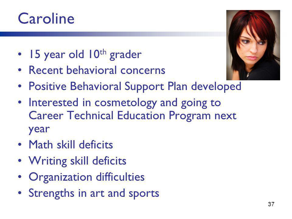 Caroline 15 year old 10th grader Recent behavioral concerns