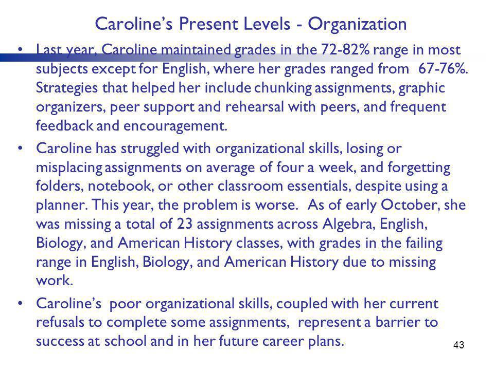 Caroline's Present Levels - Organization