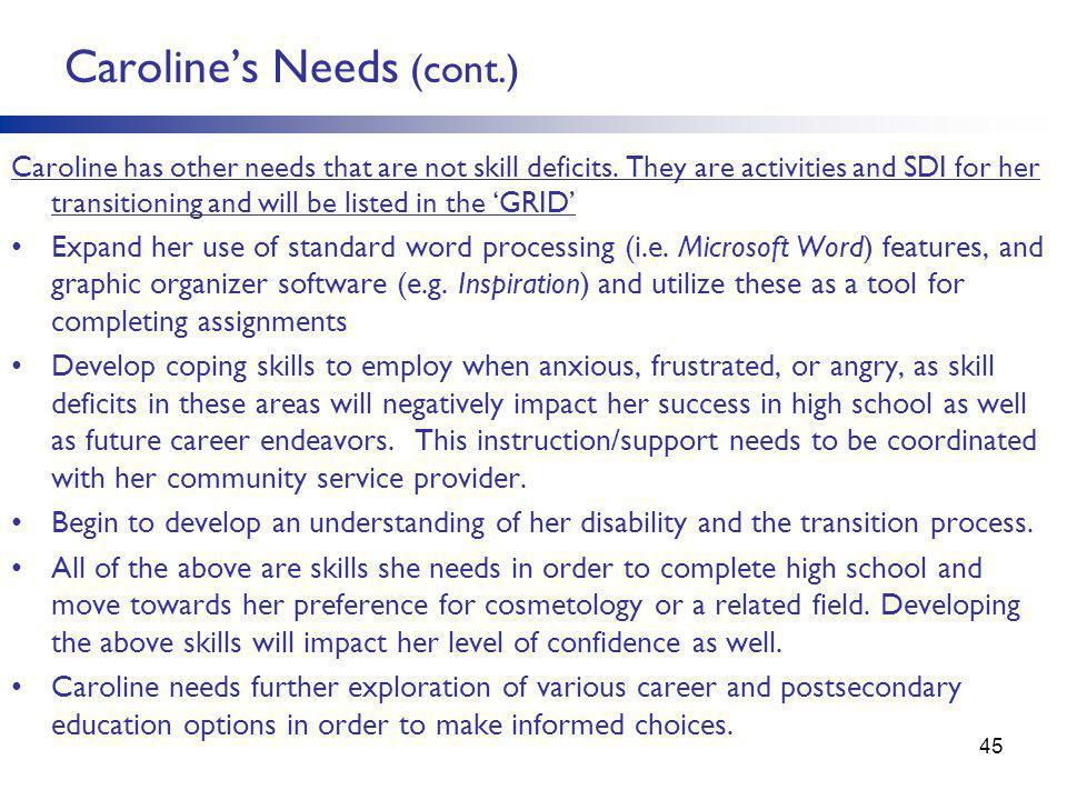 Caroline's Needs (cont.)
