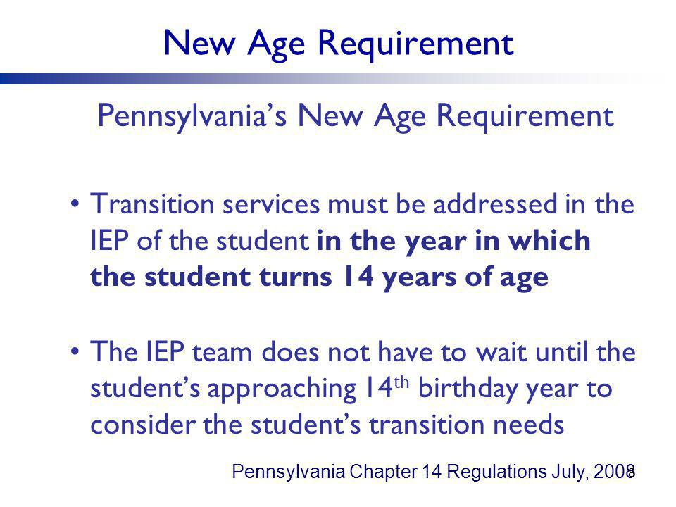 Pennsylvania's New Age Requirement