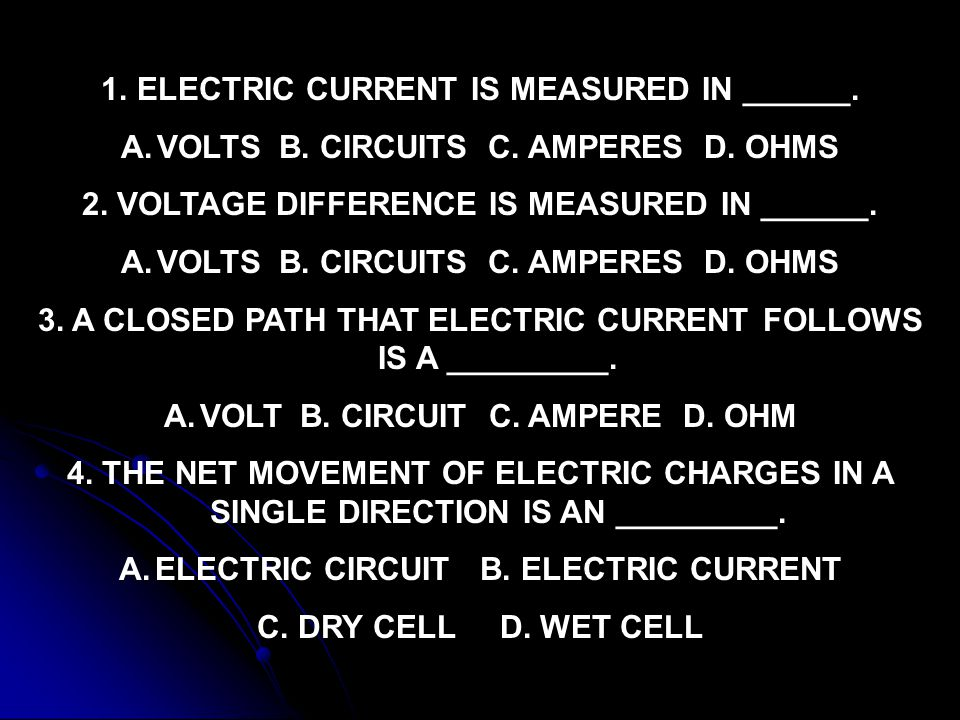 ELECTRIC CURRENT IS MEASURED IN ______.