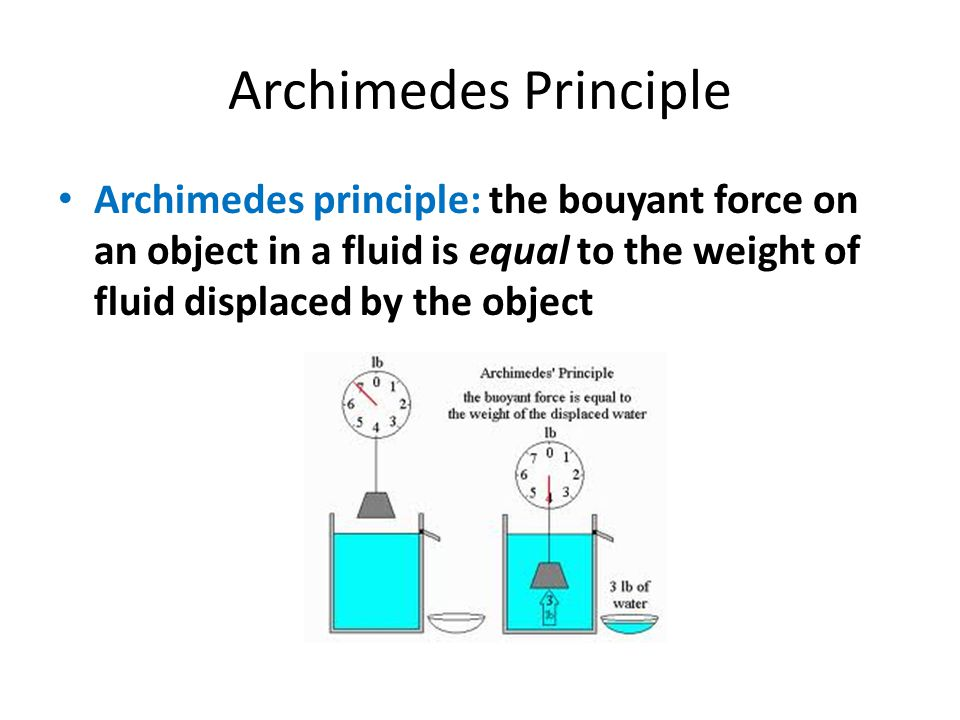 Archimedes Principle Archimedes principle: the bouyant force on an object in a fluid is equal to the weight of fluid displaced by the object.