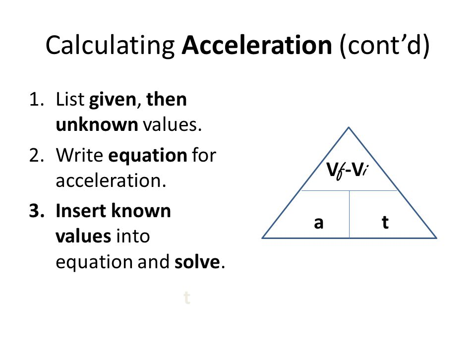 Calculating Acceleration (cont'd)